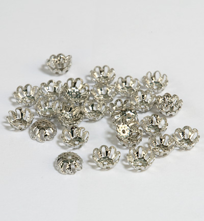 Filigrane Bead Caps, 8mm, Platinum, 30 pcs
