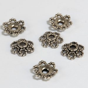 Bead caps, Ø 10mm, Platinum, 6pcs