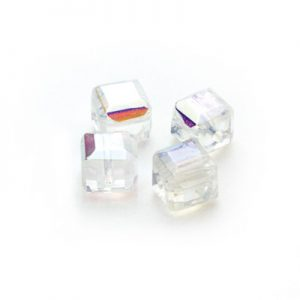 Square glass beads Ab Clear 6x6mm