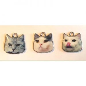 Metal Charms, Cats, 16x17mm, 3 pcs